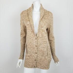 J. Crew Tan Marled Merino Wool Cardigan Sweater